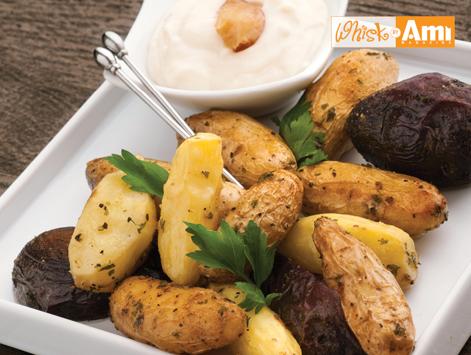 Roasted Fingerling Potatoes- with Roasted Garlic-Mayo