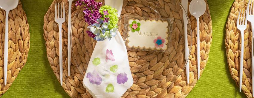 DIY Floral Imprint Napkins for Shavuot
