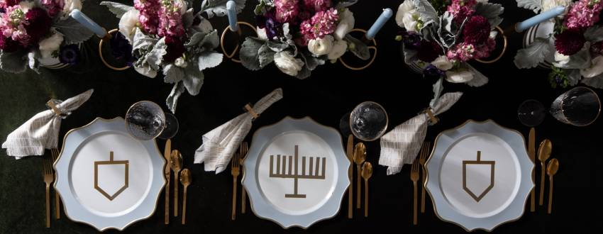Set Your Chanukah Table With Dreamy Greens and Blues + Gold Washi Tape Details
