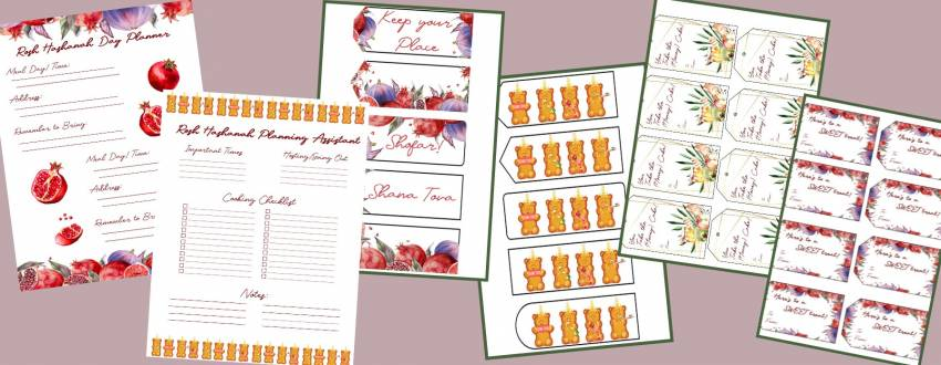 The Most Beautiful Rosh Hashanah Gift Tags, Bookmarks, and More! (Free Downloads!)