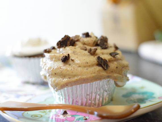 Chocolate Chunk Muffins with Caramel Cream Topping (Gluten Free)
