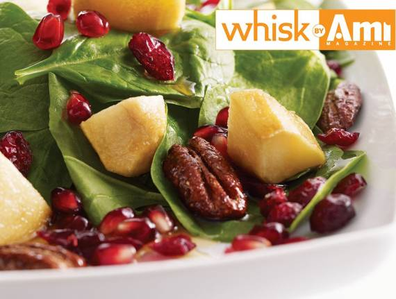 Caramelize​d Pear Spinach Salad with Pomegranates, Pecans, and Craisins