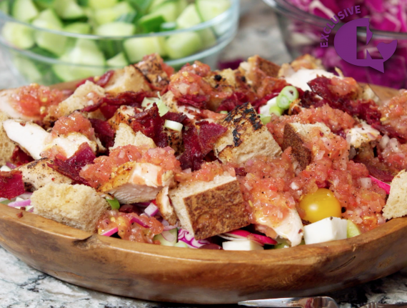 Grilled Chicken and Crispy Pastrami Panzanella Salad