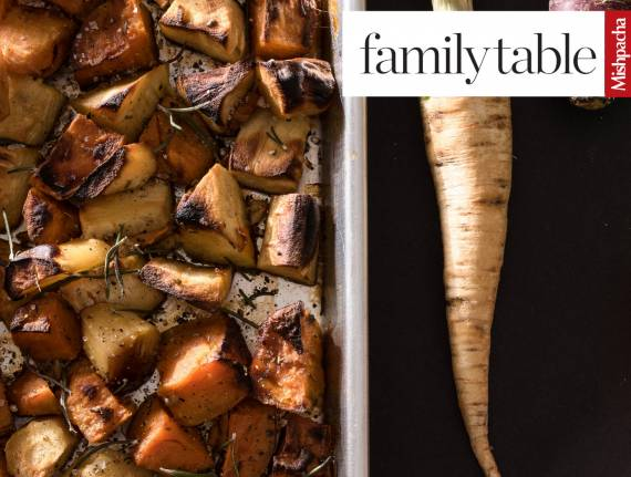 Roasted Sweet Potatoes and Parsnip with Garlic Rosemary Glaze