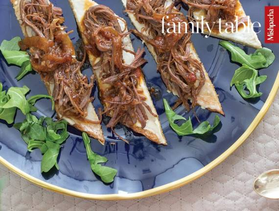 Pulled Barbecue Brisket with Potato Flatbreads