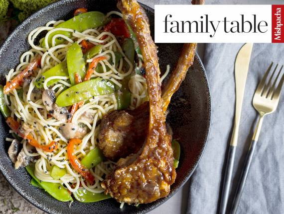 Chinese Lamb Chops with Vegetable Lo Mein