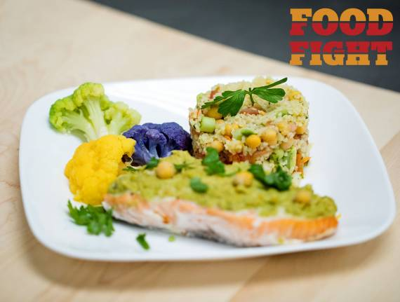 Chummus- Dressed Salmon with Bulgur