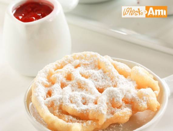 Funnel Cakes with Strawberry Citrus Dipping Sauce