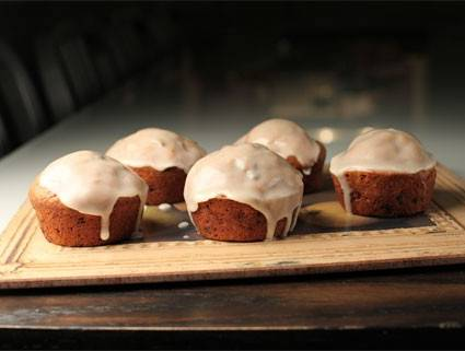 Hearty Banana Muffins with Vanilla or Maple Glaze