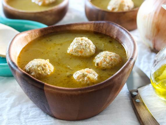 Onion Chicken Meatball Soup