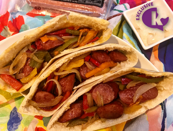 Sheet-Pan Hot Dogs and Pepper Stuffed Pita