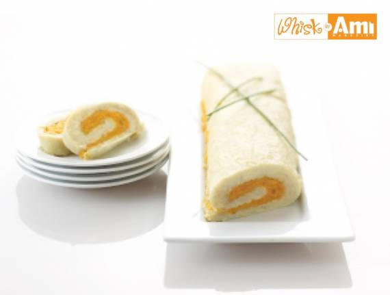 Potato Kugel and Sweet Potato Roulade