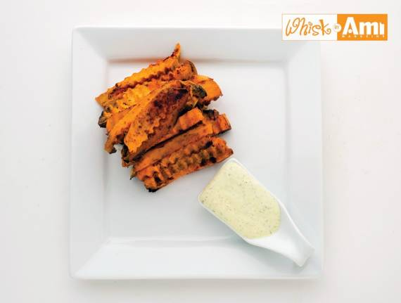Rippled Smoked Sweet Potatoes with Parsley-Jalapeno Aioli