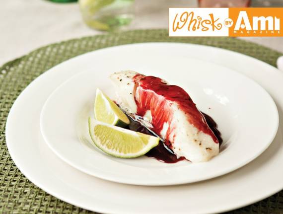 Sea Bass with Pomegranate Reduction Sauce