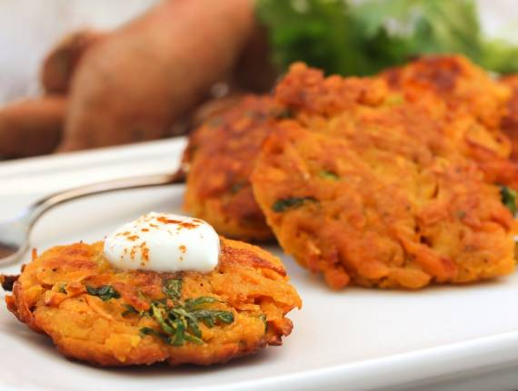 No-Fry Sweet Potato Latkes