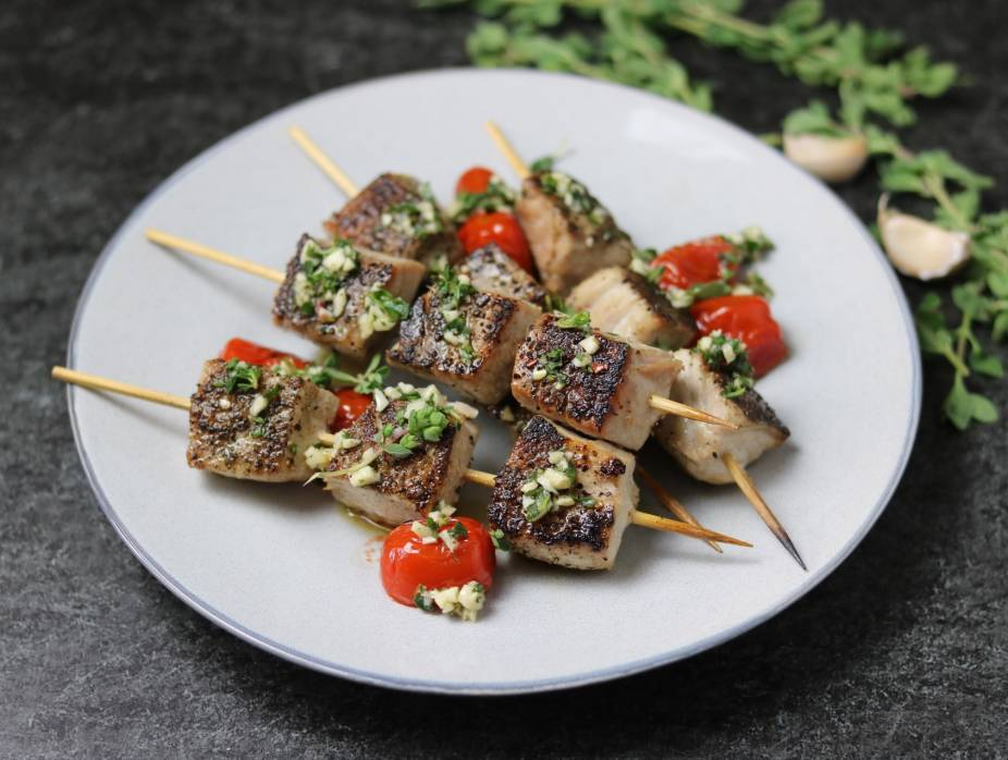 Grilled Tuna Skewers with Garlic Herb Gremolata