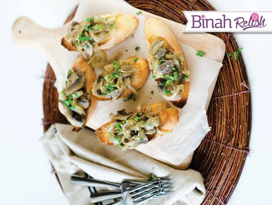 Mushrooms and Chives over Toasted Baguette