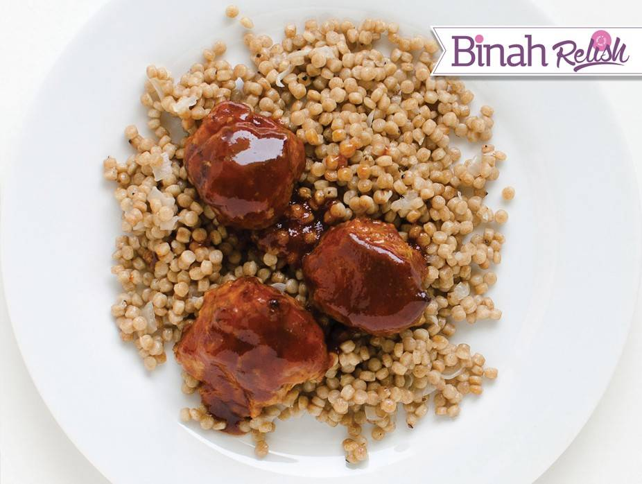 Barbecue Meatballs with Ptitim