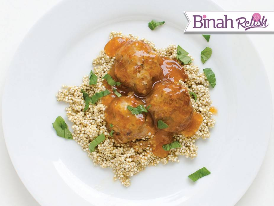 Sweet and Tangy Meatballs over Quinoa