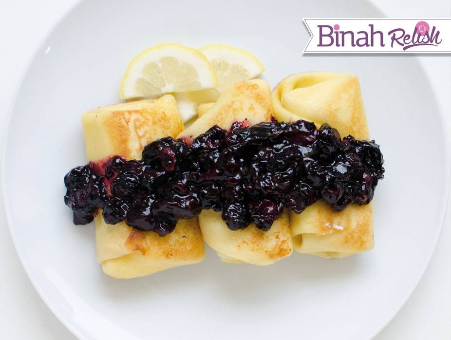 Cheese Blintzes with Blueberry Lemon Sauce