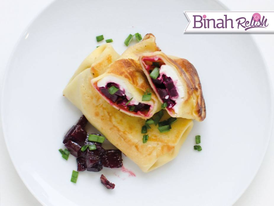 Goat Cheese and Beet Blintzes