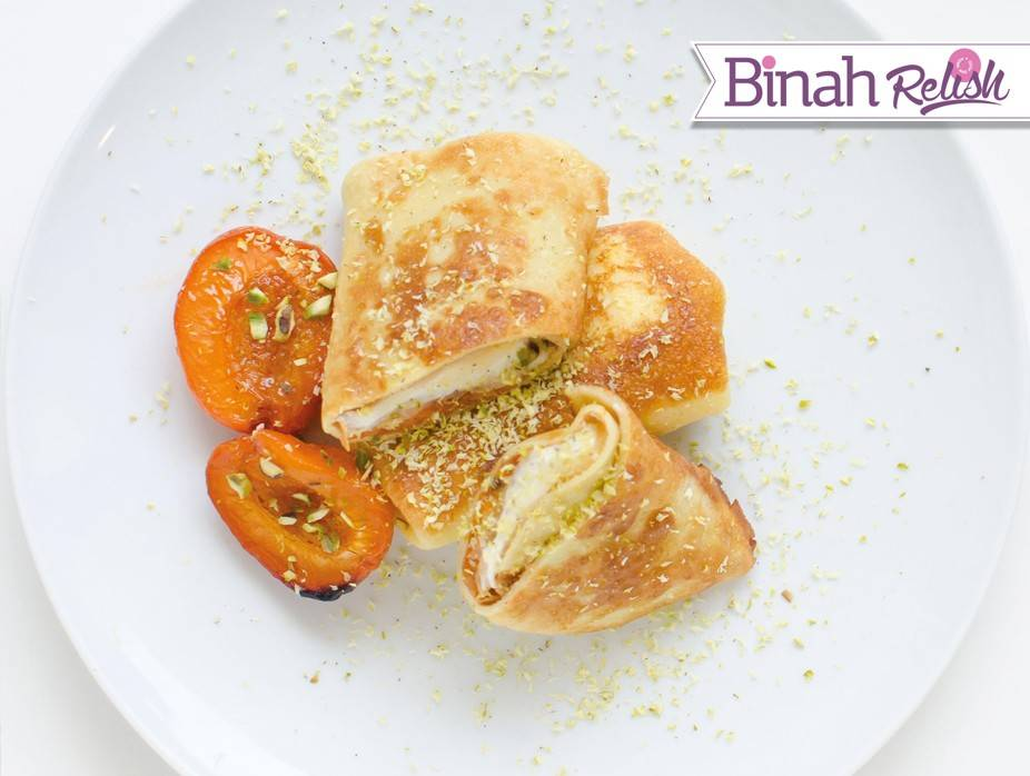 Honey-Caramelized Apricot and Pistachio Blintzes