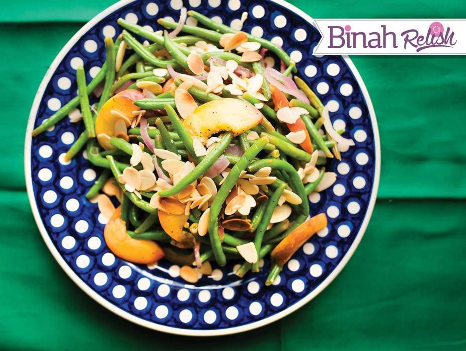 Green Bean and Peach Salad with Honey Sriracha Dressing