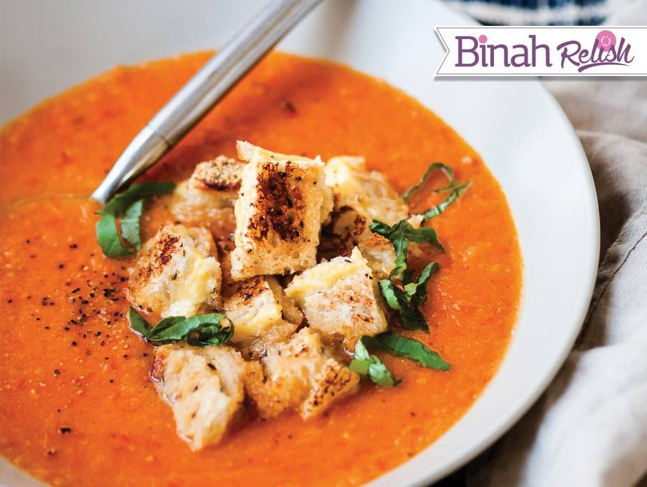 Roasted Tomato Basil Soup With Grilled Cheese Croutons