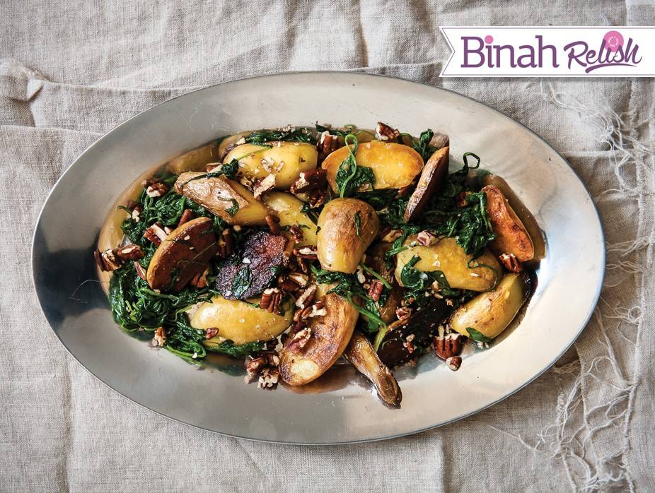 Pecan-Topped Potatoes and Spinach