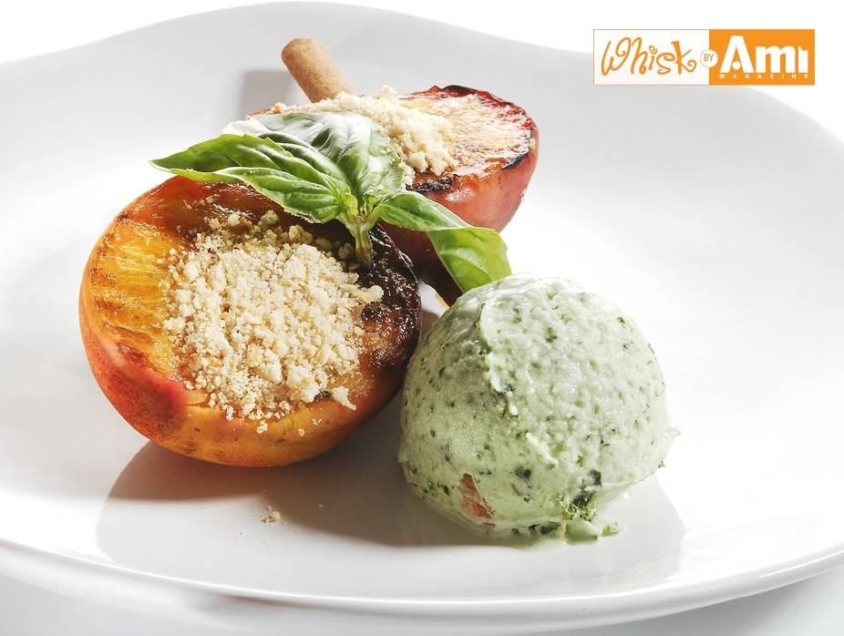 Balsamic Grilled Peaches with Basil Pistachio Ice Cream on Cinnamon Skewers