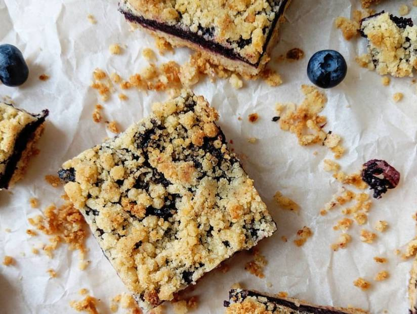 Blueberry Crumble Bars with Brown Butter Shortbread Crust