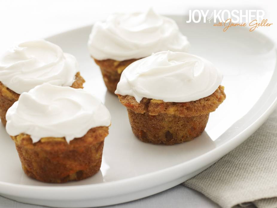 Carrot Apple Mini Cupcakes with Non-Dairy Cream Cheese Icing