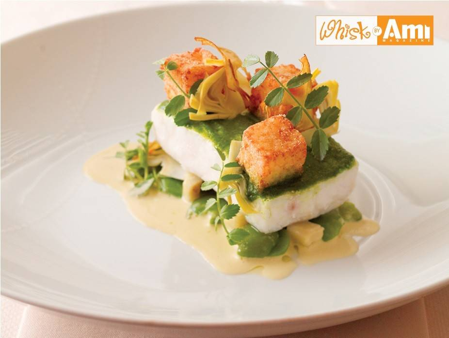 Chilean Sea Bass with Chive Walnut Pesto and Lemon Artichoke Cream with Square French Fries