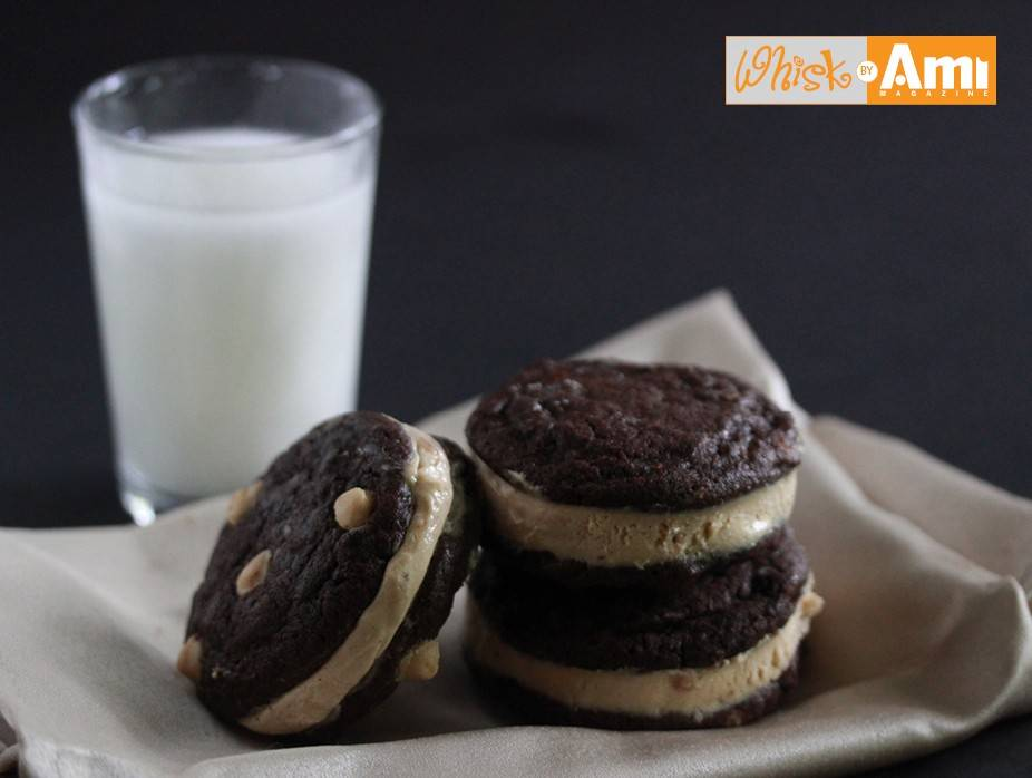 Chocolate and Peanut Butter Ice Cream Sandwich Cookies