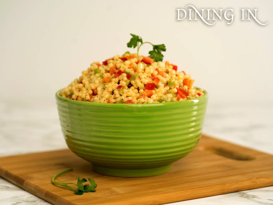 Couscous Salad with Creamy Roasted Garlic Dressing