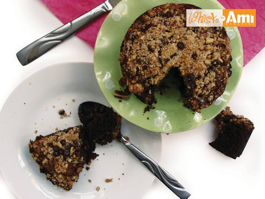 Chocolate Date Cake with Pecan Crunch Topping
