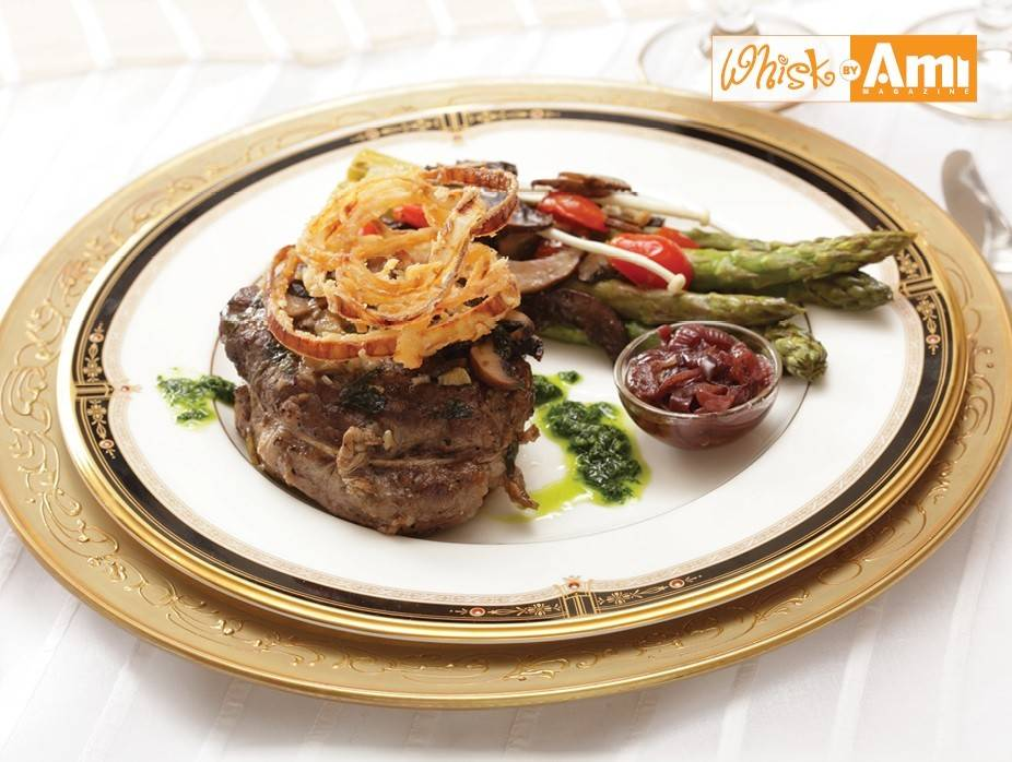Delmonico Steak and Roasted Asparagus with Mushrooms and Basil Chiffonade