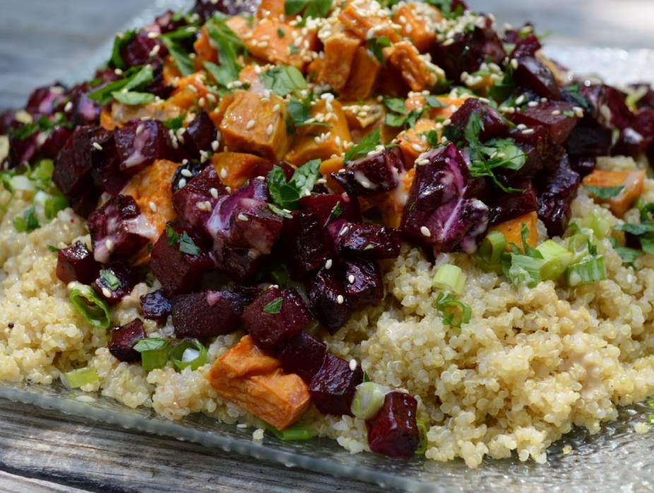 Quinoa Salad with Roasted Sweets and Beets and Tahini Silan Dressing