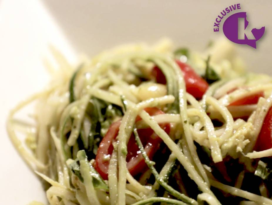 """Mediterranean Hearts of Palm """"Pasta"""" Salad with Avocado and Basil (Gluten Free)"""