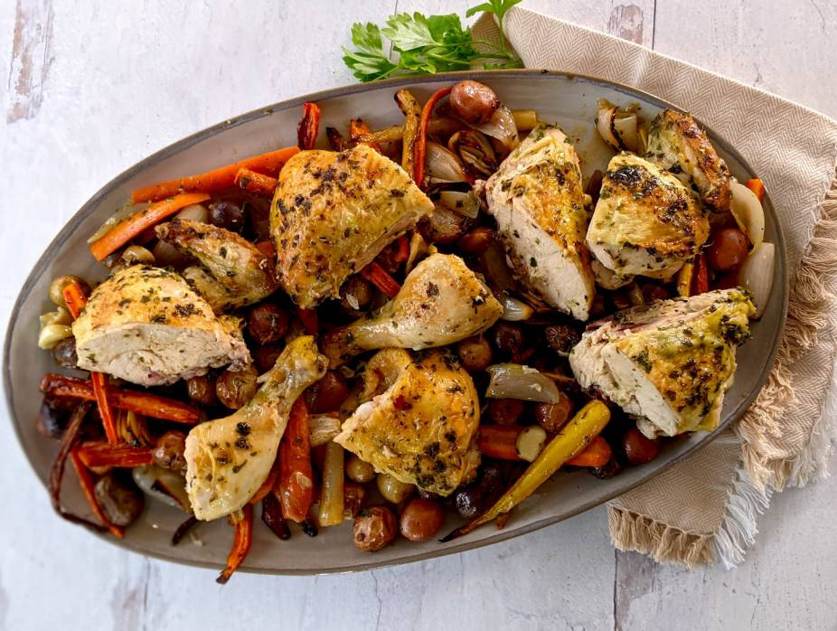 Spatchcock Roasted Lemon Herb Chicken with New Potatoes, Carrots, and Shallots