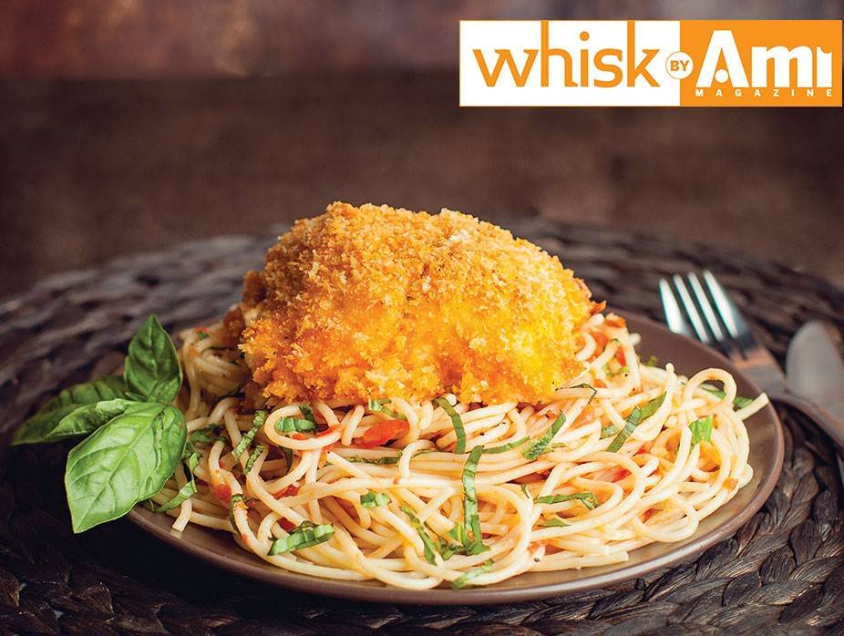 Flounder and Salmon Roll-Ups over Angel Hair Pasta