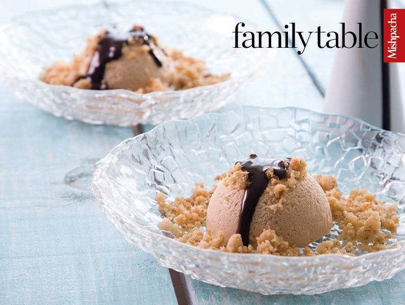 Coffee-Nougat Bombes with Crumb Crunch and Chocolate Sauce