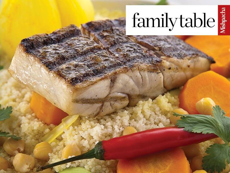 Fish Fillet on a Bed of Couscous and Vegetables