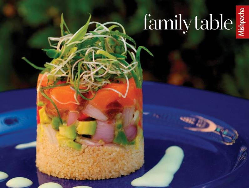 Lox, Vegetable, and Couscous Tower
