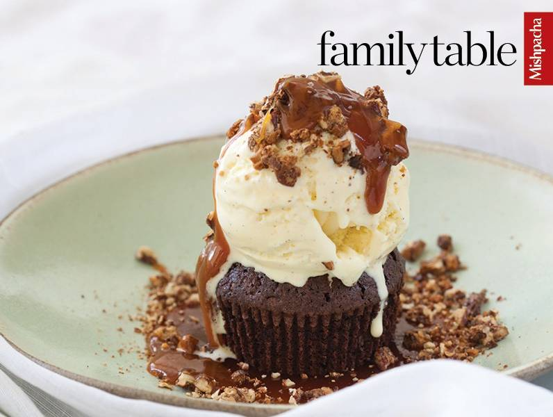 Brownie Cups with Butterscotch-Whiskey Sauce