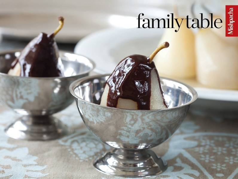 Poached Pears in Liqueur with Chocolate Sauce