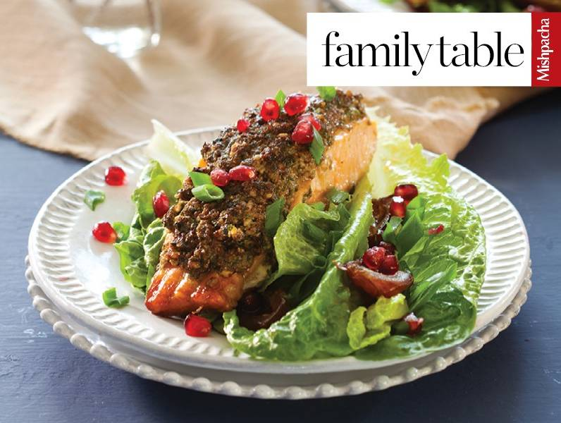 Nutty Baked Salmon Topped with Pomegranates