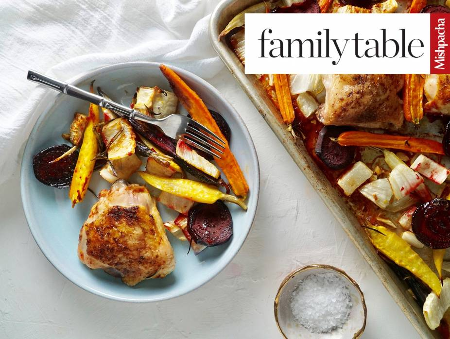 One-Pan Citrus and Beet Roasted Chicken Thighs