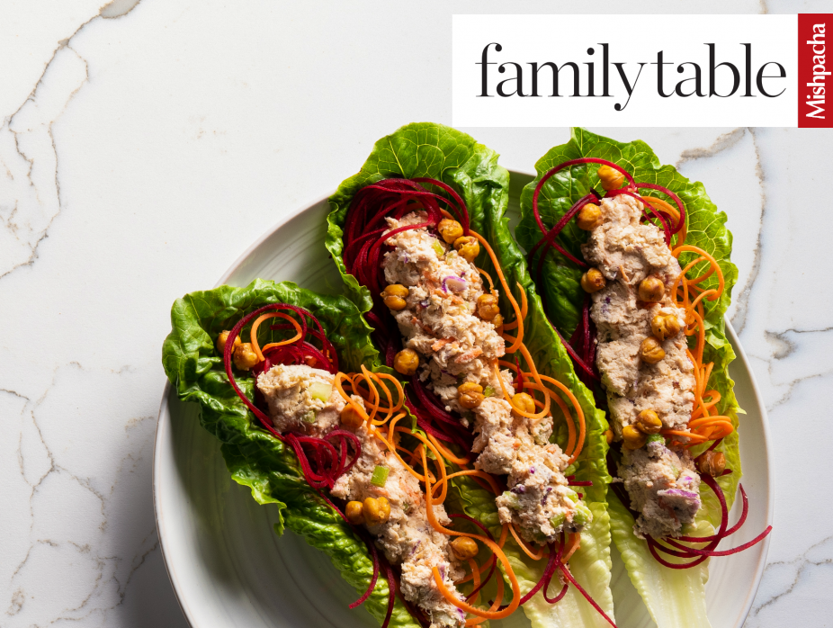 Chicken Salad with Crunchy Roasted Chickpeas in Lettuce Wraps