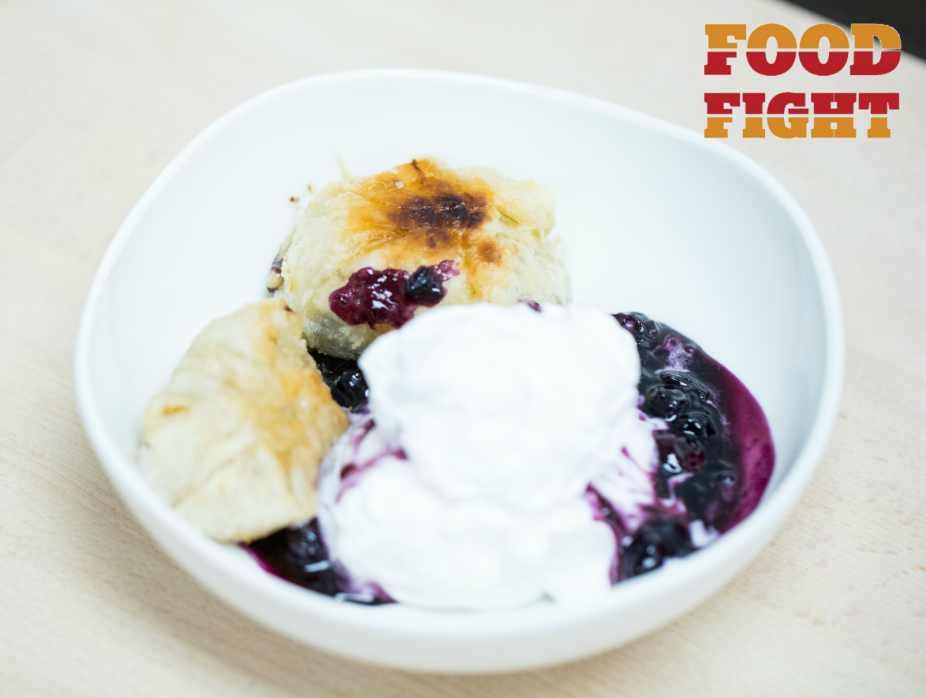 Chocolate Chip Cookie Surprise with Whipped Cream and Blueberry Sauce